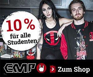 Jetzt ganz exklusiv bei EMP: Studenten-Rabatt in Höhe von 10 Prozent. So wird shoppen bei EMP für Studenten richtig günstig!