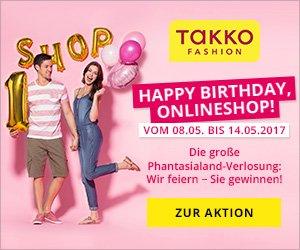 Der Takko Online-Shop feiert 1. Geburtstag, und verlost zu diesem Anlass einen Phantasialand-Aufenthalt sowie Tagestickets für den Freizeitpark.