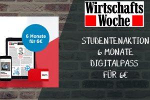 Jetzt 6 Monate den Wirtschaftswoche Digitalpass für nur 6 EUR erhalten. Dieses exklusive Angebot gilt nur für Studenten. So bleiben Sie stets informiert.