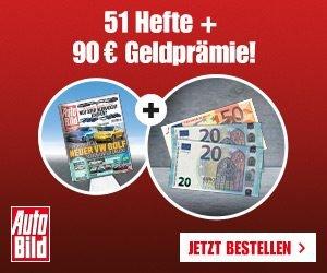 51 Ausgaben im AUTO BILD-Abo günstiger dank 90 EUR Geldprämie für umgerechnet nur 24 Cent pro Heft. Top recherchierte Beiträge, Tests uvm. erwarten Sie.