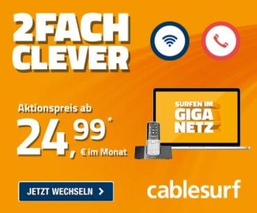 Jetzt den cablesurf.de Online-Vorteil nutzen und Sie sparen nicht nur die Anschlussgebühr, sondern auch die Versandkosten.
