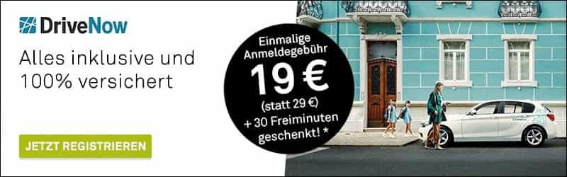 Drive Now Car-Sharing: Anmeldung jetzt für nur 19 EUR statt 29 EUR, und 30 Freiminuten erhalten Sie als Begrüßungsgeschenk GESCHENKT!