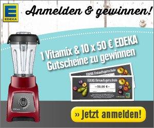 Beim Edeka Gewinnspiel können Sie jetzt einen Vitamix Professional 750 in der Farbe Cranberry oder insgesamt zehn50 EUR Einkaufs-Gutscheine gewinnen!