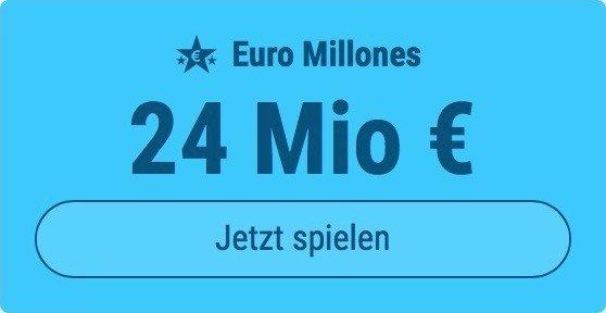 Jackpot knacken bei Euro Millones: Ausgespielt werden 50 Mio EUR, und bei uns spielen Tipp24-Nekunden mit nur 3 EUR Einsatz mit (statt mit 9 EUR)