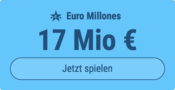 Jackpot knacken bei Euro Millones: Ausgespielt werden 17 Mio EUR, und bei uns spielen Tipp24-Nekunden mit nur 3 EUR Einsatz mit (statt mit 9 EUR)