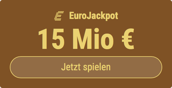 Im EuroJackpot werden 15 Millionen EUR ausgespielt. Bei Tipp24 zahlen Neukunden nur 2,50 EUR statt 12,50 EUR für ihren ersten Tippschein. JETZT MITMACHEN!