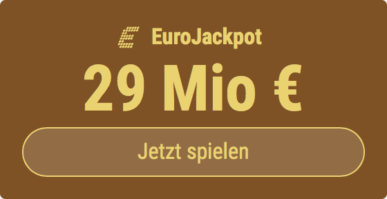 Im EuroJackpot werden 21 Millionen EUR ausgespielt. Bei Tipp24 zahlen Neukunden nur 2,50 EUR statt 12,50 EUR für ihren ersten Tippschein. JETZT MITMACHEN!