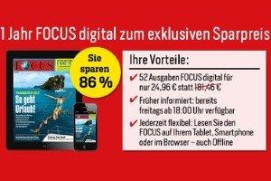 Das Focusmagazin erhalten Sie jetzt als E-Paper mit einem starken Rabatt in Höhe von 86%. Zahlen Sie beim Focus digital Abo nur 24,96 EUR statt 181,45 EUR.