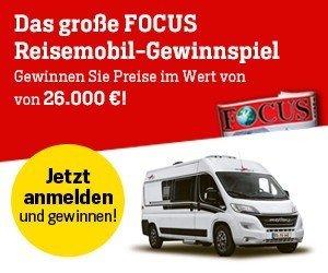Beim Focus Reisemobil-Gewinnspiel können Sie jetzt Preise wie Caravaning-Reisen, Roadtrips, Campingzubehör u.v.m. im Gesamtwert von 26.000 EUR abräumen!
