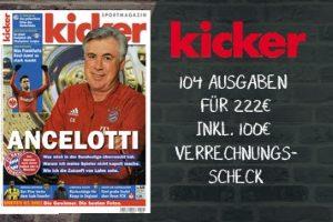 Beim Kicker Abo 100 EUR sparen! Somit gibt's das Kicker Jahresabo für 122 statt 222 EUR. Bereiten Sie sich oder einem Fußballfan viel Freude für wenig Geld.
