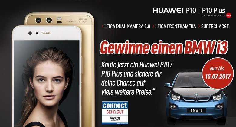 Jetzt Smartphone kaufen - BMW i3 gewinnen! Kaufen Sie jetzt ein Huawei P10 bei notebooksbilliger.de, und gewinnen Sie einen BMW i3 sowie 110 weiterer Preise