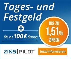 Eröffnen Sie jetzt Ihr Konto auf Zinspilot und profitieren Sie von 100 EUR Willkommensbonus für Ihre Erstanlage. Zudem winkt ein Zinssatz in Höhe von 1,51%.