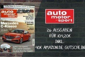 19,20 EUR für 26 Ausgaben Auto Motor Sport! Im Auto Motor Sport Abo können Sie jetzt dank Amazon Prämie das Motorsportheft zum günstigen Preis beziehen.