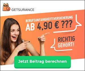 Die Berufsunfähigkeit-Versicherung von Getsurance sichert Sie ab 4,90 EUR/Monat: Ihre Arbeitskraft ist Ihr wichtigstes Kapital und finanziert Ihr Leben!