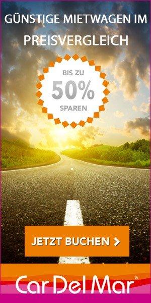 Mit dem Mietwagen-Preisvergleich CarDelMar fahren Sie in Ihrem Urlaub immer mit dem günstigsten Auto. Tipp: 5% Sofortrabatt für Ihre erste Anmietung nutzen!