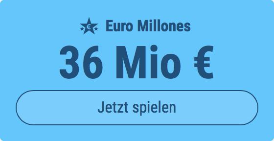 Jackpot knacken bei Euro Millones: Ausgespielt werden 36 Mio EUR, und bei uns spielen Tipp24-Nekunden mit nur 3 EUR Einsatz mit (statt mit 9 EUR)