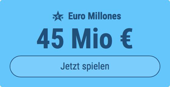 Jackpot knacken bei Euro Millones: Ausgespielt werden 45 Mio EUR, und bei uns spielen Tipp24-Nekunden mit nur 3 EUR Einsatz mit (statt mit 9 EUR)