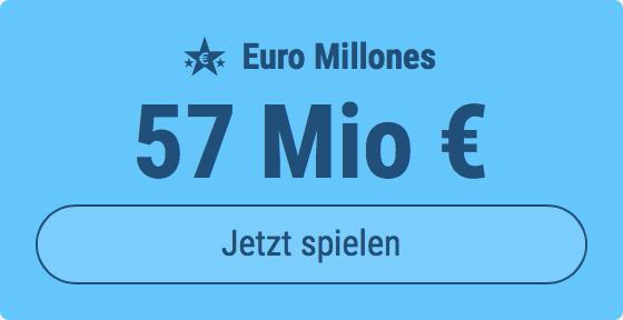 Jackpot knacken bei Euro Millones: Ausgespielt werden 57 Mio EUR, und bei uns spielen Tipp24-Nekunden mit nur 3 EUR Einsatz mit (statt mit 9 EUR)