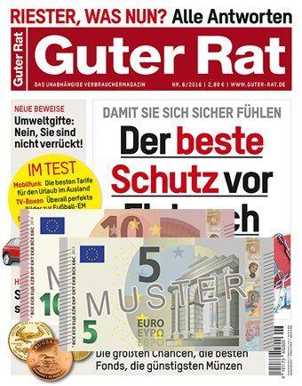 Jetzt können Sie das Magazin Guter Rat für effektiv 3220 EUR lesen, denn Sie erhalten 7 Ausgaben für nur 18,20 inkl. 15 EUR Verrechnungsscheck!