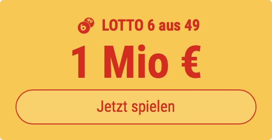 6 Tippfelder im Lotto 6 aus 49 ausfüllen und den Jackpot knacken - aber nur 1 EUR bezahlen: Bei Tipp24 bekommen Neukunden 5 Tippfelder GESCHENKT.