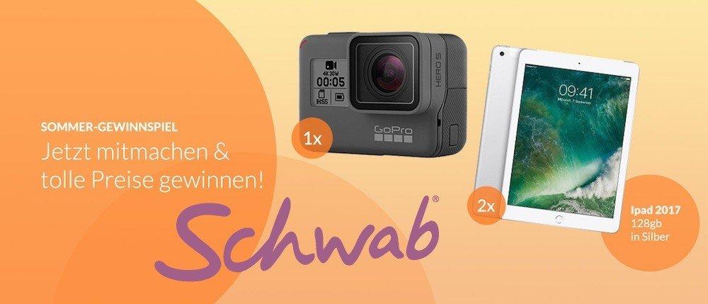 Beim Schwab Gewinnspiel haben Sie jetzt die Chance, ein AppleiPad 2017 mit 128 GB oder eine GoPro Hero 5 Action Kamera zu gewinnen. Viel Glück!