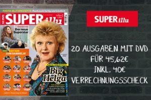 Lesen Sie 20 Ausgaben des Boulevardmagazins im SUPERillu Abo zum Super-Preis von knapp 45,62 EUR mit zusätzlich 40 EUR Verrechnungsscheck.