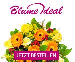 Der Blumenlieferservice BLUME IDEAL versendet Ihren Blumengruß zu Geburtstag, Muttertag, Hochzeit oder Weihnachten: Angebote, Rabatt und Gutschein-Codes!