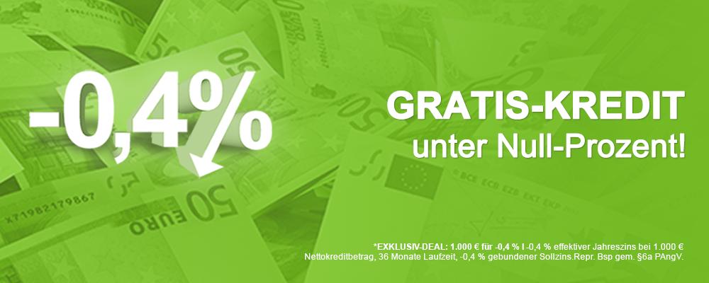 Der erste GRATIS-KREDIT am Markt ist da: smava bietet Ihnen minus 0,4% effektiven Jahreszins! Sie nehmen 1.000 EUR auf und zahlen rund 994 EUR zurück!
