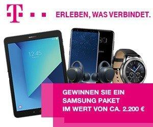 Sofort mitspielen und beim Telekom-Gewinnspiel ein ein Samsung-Paket im Wert von 2.200 EUR gewinnen! Wir wünschen Ihnen viel Glück!