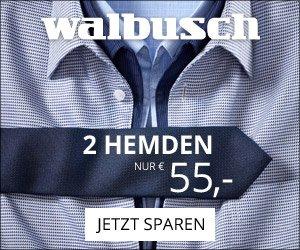 Bei der Walbusch 2 für 1-Aktion erhalten Sie bei der Bestellung eines Hemdes ein zweites Hemd KOSTENLOS dazu. Und das auch noch serienmäßig bügelfrei!