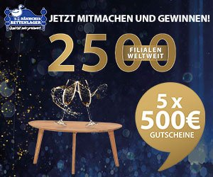 Beim Dänisches Bettenlager-Gewinnspiel werden aus Anlass der Eröffnung der 2.500sten Filiale insgesamt fünf Einkaufsgutscheine zu jeweils 500 EUR verlost.