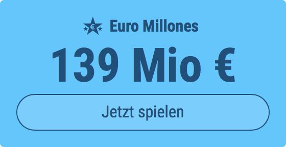 Jackpot knacken bei Euro Millones: Ausgespielt werden 139 Mio EUR, und bei uns spielen Tipp24-Nekunden mit nur 3 EUR Einsatz mit (statt mit 9 EUR)