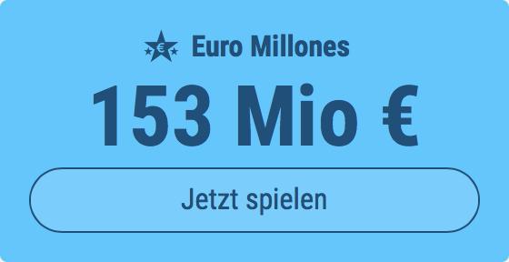 Jackpot knacken bei Euro Millones: Ausgespielt werden 153 Mio EUR, und bei uns spielen Tipp24-Nekunden mit nur 3 EUR Einsatz mit (statt mit 9 EUR)
