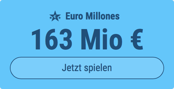 Jackpot knacken bei Euro Millones: Ausgespielt werden 163 Mio EUR, und bei uns spielen Tipp24-Nekunden mit nur 3 EUR Einsatz mit (statt mit 9 EUR)