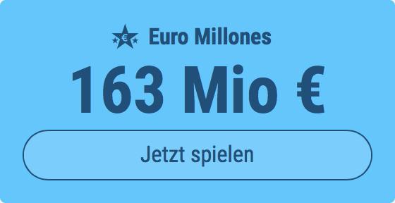 Jackpot knacken bei Euro Millones: Ausgespielt werden 163 Mio EUR, und bei uns spielen Tipp24-Nekunden mit nur 3 EUR Einsatz mit (statt mit 9 EUR)