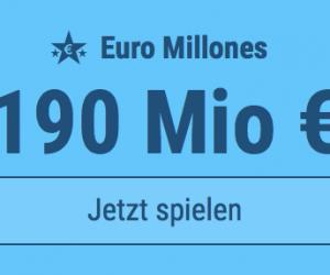Jackpot knacken bei Euro Millones: Ausgespielt werden 190 Mio EUR, und bei uns spielen Tipp24-Nekunden mit nur 3 EUR Einsatz mit (statt mit 9 EUR)