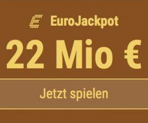 Im EuroJackpot werden 22 Millionen EUR ausgespielt. Bei Tipp24 zahlen Neukunden nur 2,50 EUR statt 12,50 EUR für ihren ersten Tippschein. JETZT MITMACHEN!