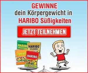 Beim HARIBO Gewinnspiel jetzt das eigene Körpergewicht in Süßigkeiten gewinnen! Einfach kostenlos eintragen und mit etwas Glück HARIBO Süßwaren gewinnen.