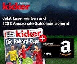 Beim Kicker-Abo 120 EUR sparen! Somit gibt's das Kicker Jahresabo für 102 statt 222 EUR. Bereiten Sie sich oder einem Fußballfan viel Freude für wenig Geld.