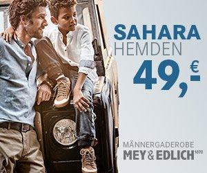 """Bei Mey und Edlich """"2 für 1"""" können Sie 2 Produkte zum Preis von 1 bestellen: 2 Hemden, 2 Pullover oder 1 Hemd + 1 Pullover für nur 69 EUR!"""