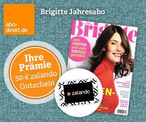 Brigitte Abo für mit 57 EUR Ersparnis! Sie erhalten im Test-Abo, 26 Ausgaben des Frauenmagazins Brigitte mit einem Gratis Gutschein nach Wahl.