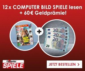 Computer Bild Spiele Abo abschließen und 60 EUR Geldprämie kassieren! Erhalten Sie jetzt 12 Ausgaben des Spielemagazins für nur 78 EUR zzgl. Prämie.