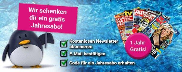 Melden Sie sich jetzt zum Couponarchiv-Newsletter an, und erhalten Sie ein ein kostenloses Zeitschriften Jahres-Abo nach Wahl!
