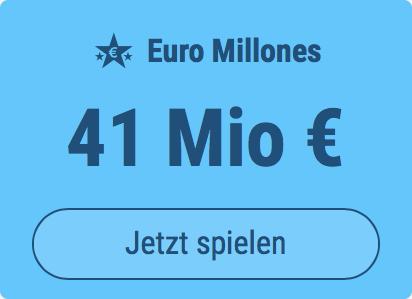 Jackpot knacken bei Euro Millones: Ausgespielt werden 41 Mio EUR, und bei uns spielen Tipp24-Nekunden mit nur 3 EUR Einsatz mit (statt mit 9 EUR)