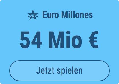 Jackpot knacken bei Euro Millones: Ausgespielt werden 54 Mio EUR, und bei uns spielen Tipp24-Nekunden mit nur 3 EUR Einsatz mit (statt mit 9 EUR)