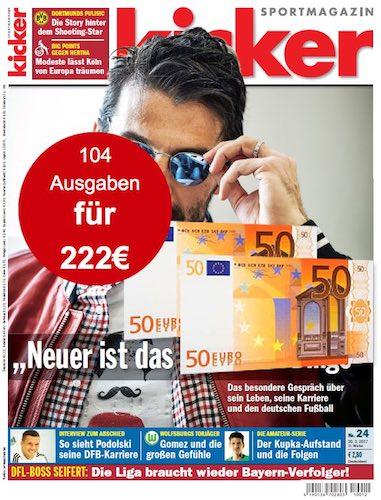 Beim Kicker-Abo 100 EUR sparen! Somit gibt's das Kicker Jahresabo für 122 statt 222 EUR. Bereiten Sie sich oder einem Fußballfan viel Freude für wenig Geld.