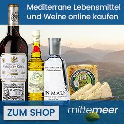 Mediterranes Lebensgefühl günstiger durch mitte-Meer Gutschein erwerben. Erhalten Sie somit Mediterrane Lebensmittel und Weine zu günstigen Preisen.