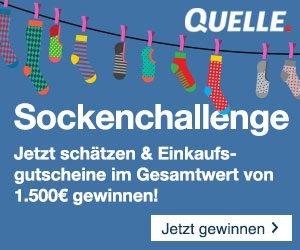 Jetzt Schätzung abgeben bei der Quelle Sockenchallenge und mit etwas Glück Quelle Einkaufs-Gutscheine gewinnen im Gesamtwert von 1.500 EUR!