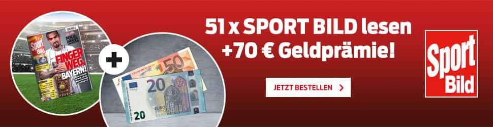 Jetzt zugreifen beim günstigen SportBILD-Abo und perfekt vorbereitet sein für die Fußball-WM! Erhalten Sie 51 Ausgaben des Sportmagazins sowie eine 70 EUR-Geldprämie!