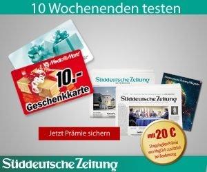 Testen Sie das Süddeutsche Zeitung Abo 10 Wochenenden lang für nur 39,90 EUR und erhalten Sie Prämien im Wert von bis zu 30 EUR!
